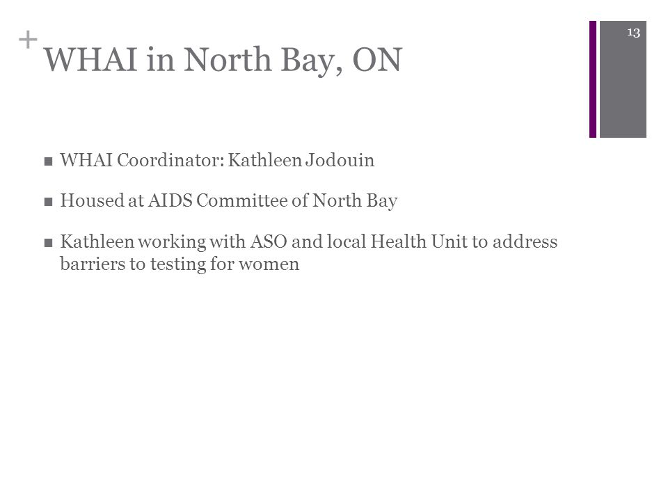 + WHAI in North Bay, ON WHAI Coordinator: Kathleen Jodouin Housed at AIDS Committee of North Bay Kathleen working with ASO and local Health Unit to address barriers to testing for women 13