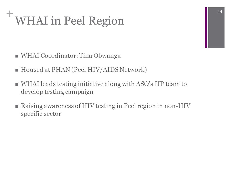 + WHAI in Peel Region WHAI Coordinator: Tina Obwanga Housed at PHAN (Peel HIV/AIDS Network) WHAI leads testing initiative along with ASO's HP team to develop testing campaign Raising awareness of HIV testing in Peel region in non-HIV specific sector 14