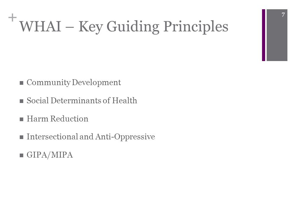 + WHAI – Key Guiding Principles Community Development Social Determinants of Health Harm Reduction Intersectional and Anti-Oppressive GIPA/MIPA 7