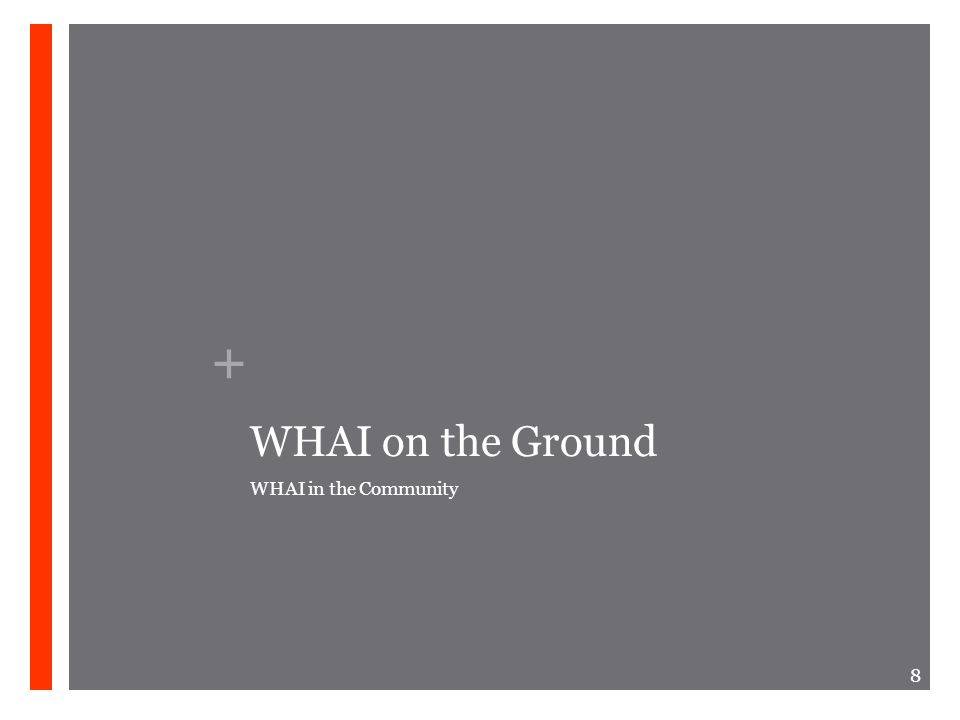 + WHAI on the Ground WHAI in the Community 8