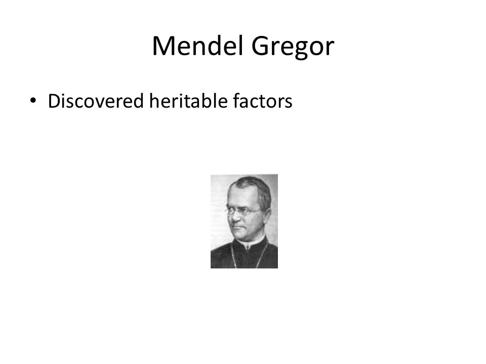 Mendel Gregor Discovered heritable factors