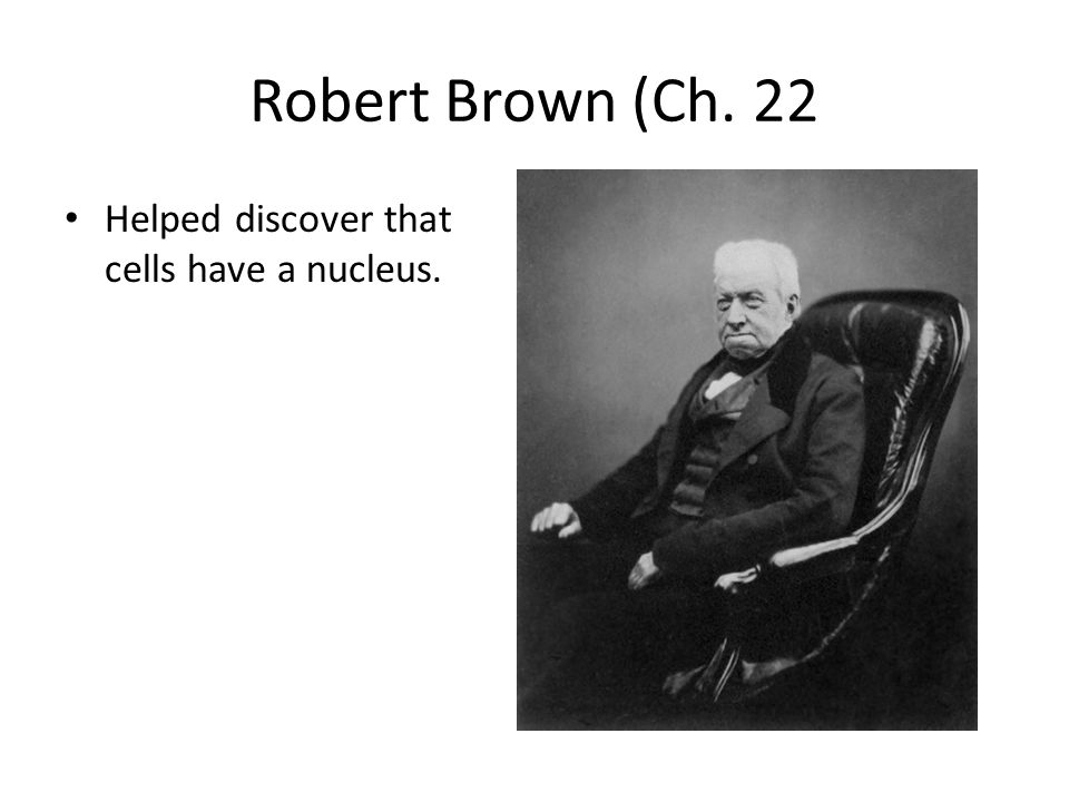 Robert Brown (Ch. 22 Helped discover that cells have a nucleus.