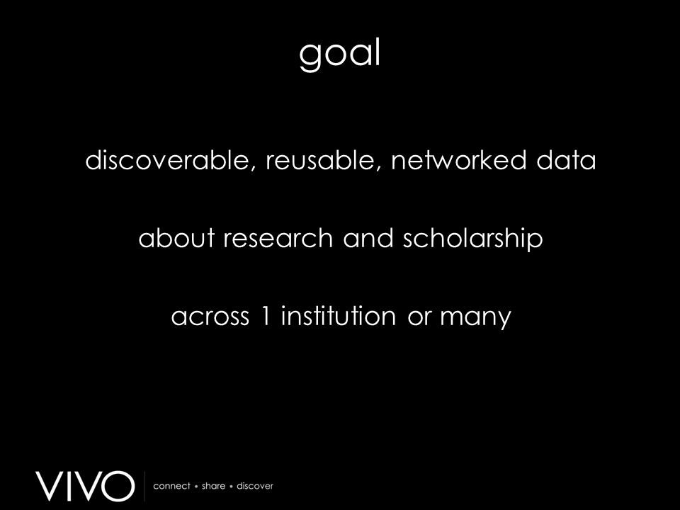 goal discoverable, reusable, networked data about research and scholarship across 1 institution or many