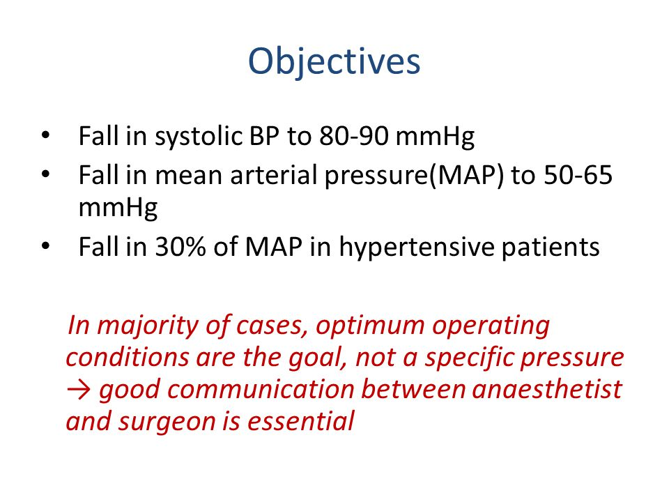 Objectives Fall in systolic BP to 80-90 mmHg Fall in mean arterial pressure(MAP) to 50-65 mmHg Fall in 30% of MAP in hypertensive patients In majority of cases, optimum operating conditions are the goal, not a specific pressure → good communication between anaesthetist and surgeon is essential