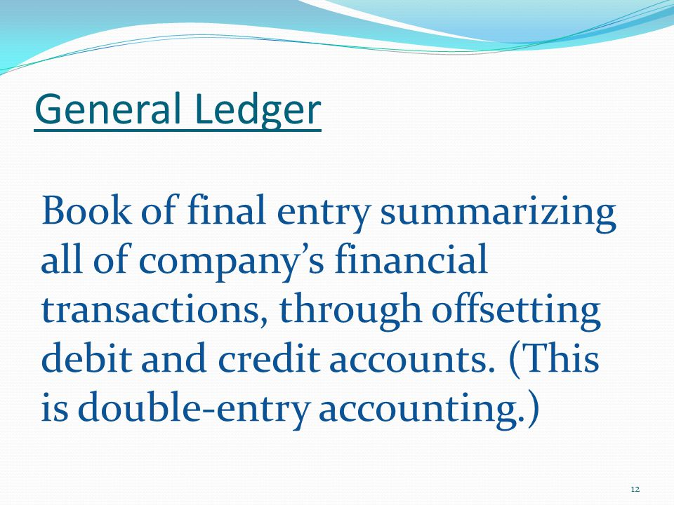 General Ledger Book of final entry summarizing all of company's financial transactions, through offsetting debit and credit accounts.
