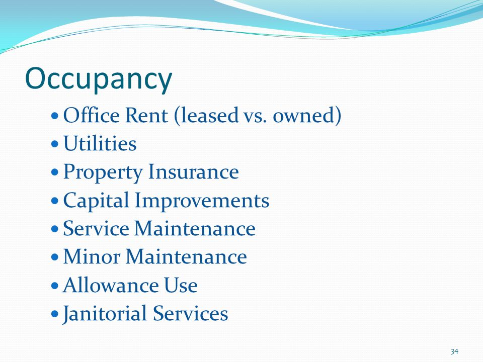 Occupancy Office Rent (leased vs.