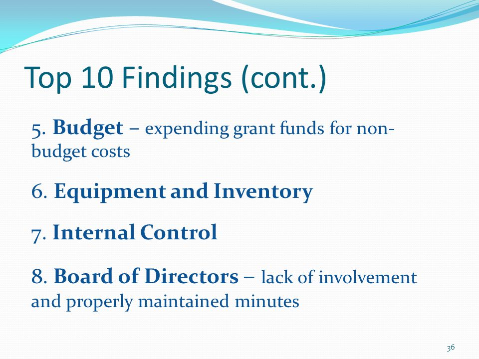 Top 10 Findings (cont.) 5. Budget – expending grant funds for non- budget costs 6.