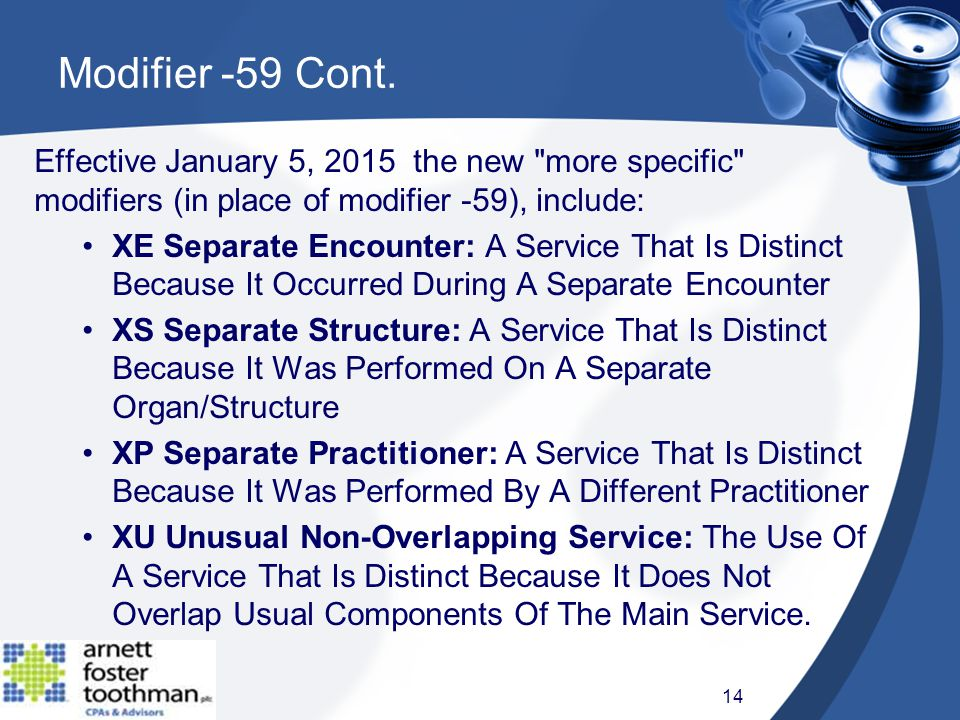 Effective January 5, 2015 the new more specific modifiers (in place of modifier -59), include: XE Separate Encounter: A Service That Is Distinct Because It Occurred During A Separate Encounter XS Separate Structure: A Service That Is Distinct Because It Was Performed On A Separate Organ/Structure XP Separate Practitioner: A Service That Is Distinct Because It Was Performed By A Different Practitioner XU Unusual Non-Overlapping Service: The Use Of A Service That Is Distinct Because It Does Not Overlap Usual Components Of The Main Service.