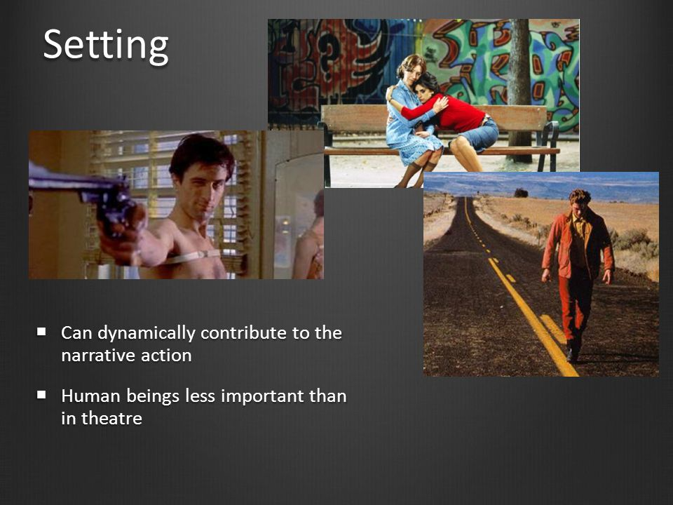 Controlling setting  Controlling setting:  location (existing)  vs. studio (constructed).