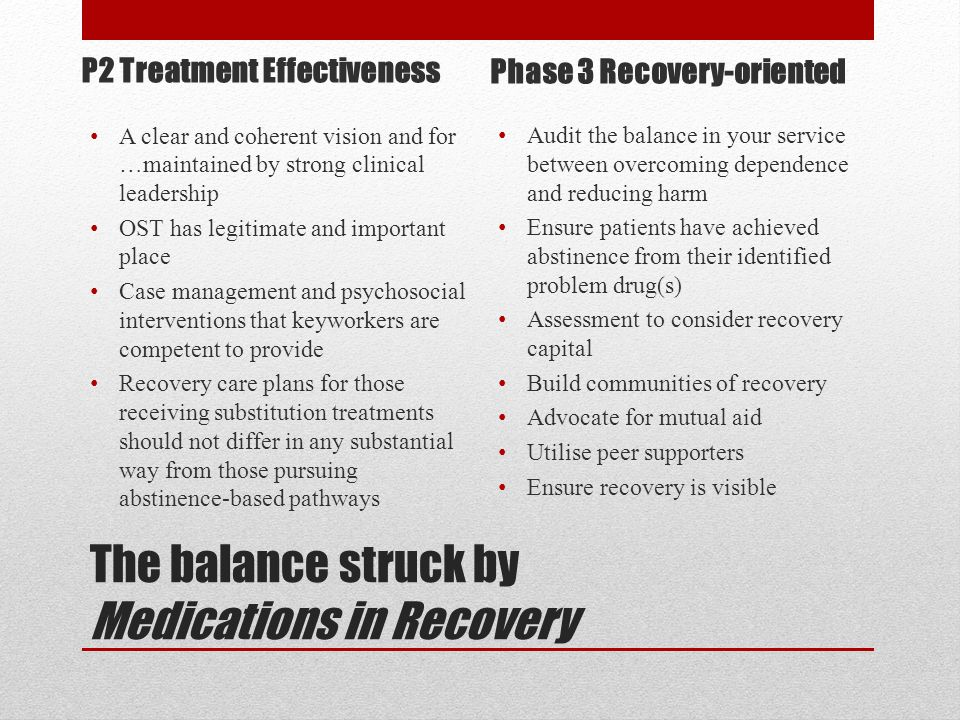The balance struck by Medications in Recovery A clear and coherent vision and for …maintained by strong clinical leadership OST has legitimate and important place Case management and psychosocial interventions that keyworkers are competent to provide Recovery care plans for those receiving substitution treatments should not differ in any substantial way from those pursuing abstinence-based pathways Audit the balance in your service between overcoming dependence and reducing harm Ensure patients have achieved abstinence from their identified problem drug(s) Assessment to consider recovery capital Build communities of recovery Advocate for mutual aid Utilise peer supporters Ensure recovery is visible P2 Treatment Effectiveness Phase 3 Recovery-oriented