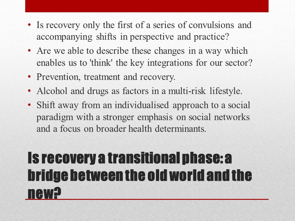 Is recovery a transitional phase: a bridge between the old world and the new? Is recovery only the first of a series of convulsions and accompanying s