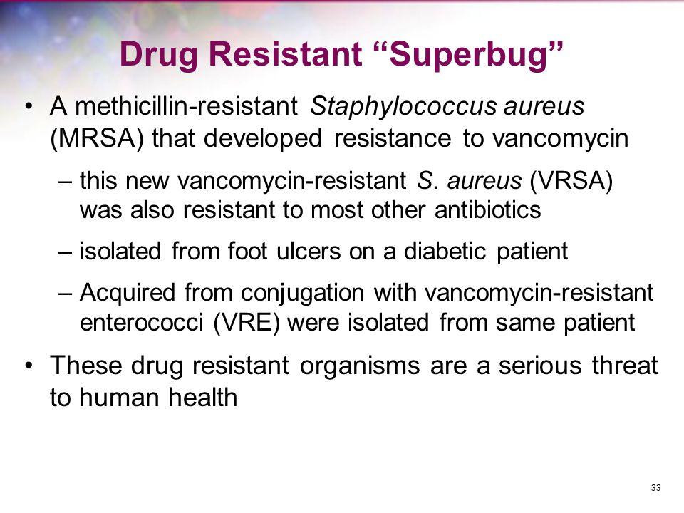 33 Drug Resistant Superbug A methicillin-resistant Staphylococcus aureus (MRSA) that developed resistance to vancomycin –this new vancomycin-resistant S.