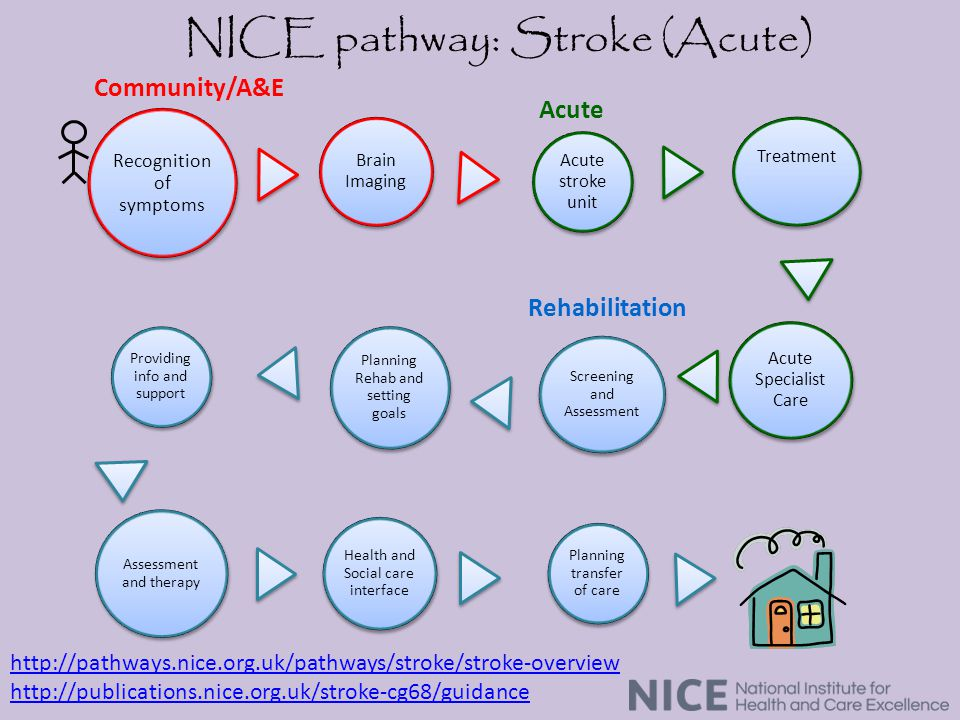 Recognition of symptoms Providing info and support Assessment and therapy Health and Social care interface Acute Specialist Care Brain Imaging Acute stroke unit Treatment Planning transfer of care Screening and Assessment Planning Rehab and setting goals Community/A&E Acute Rehabilitation NICE pathway: Stroke (Acute) http://pathways.nice.org.uk/pathways/stroke/stroke-overview http://publications.nice.org.uk/stroke-cg68/guidance