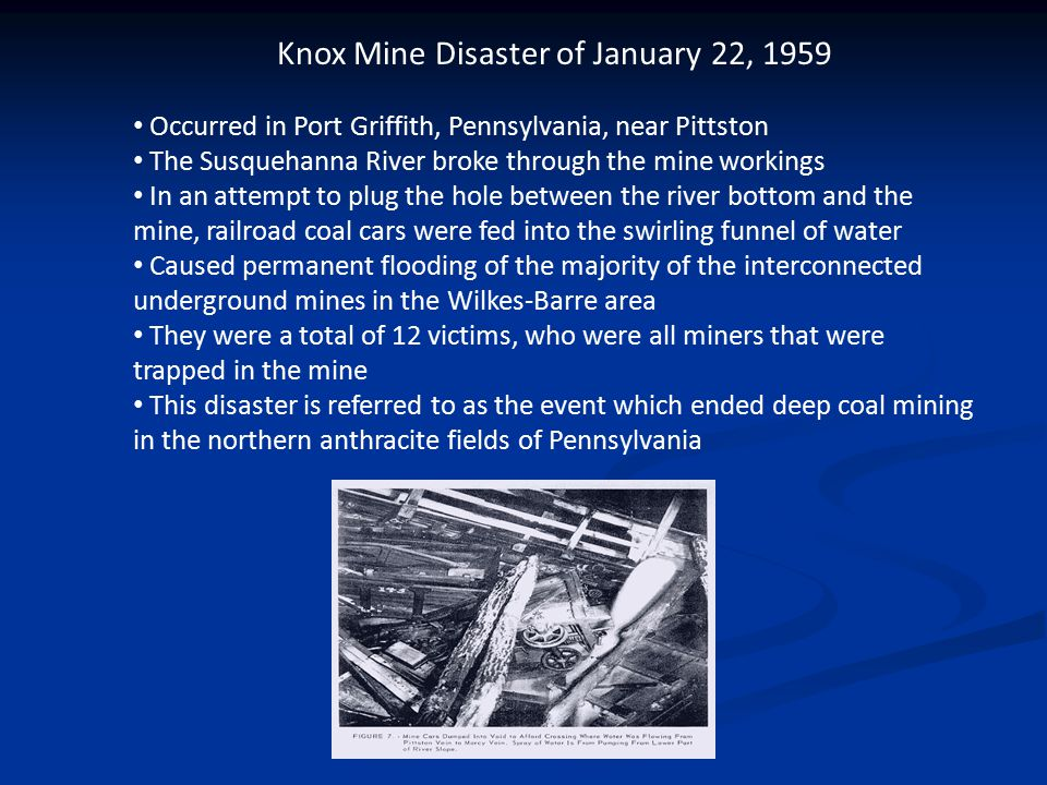 Knox Mine Disaster Information STUDY: The chart from the U.
