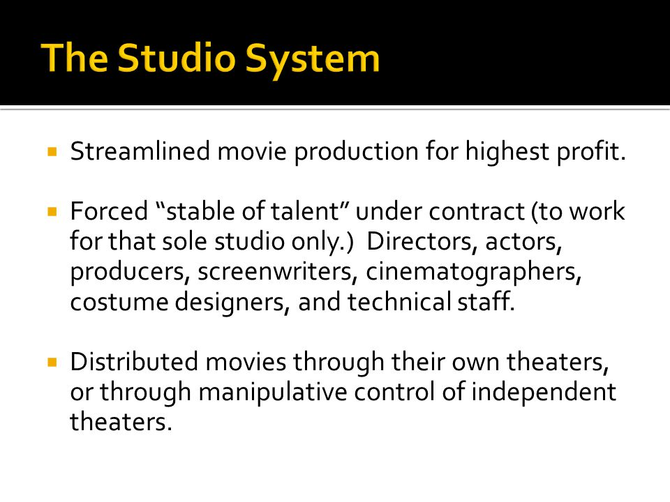  Streamlined movie production for highest profit.