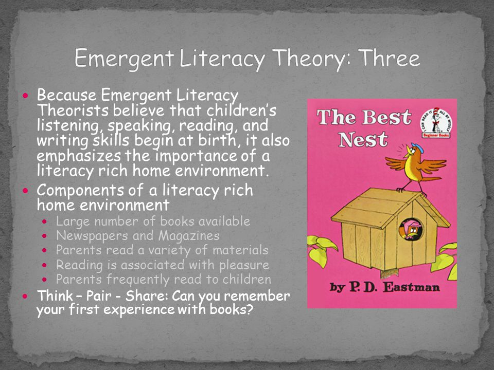 Because Emergent Literacy Theorists believe that children's listening, speaking, reading, and writing skills begin at birth, it also emphasizes the im