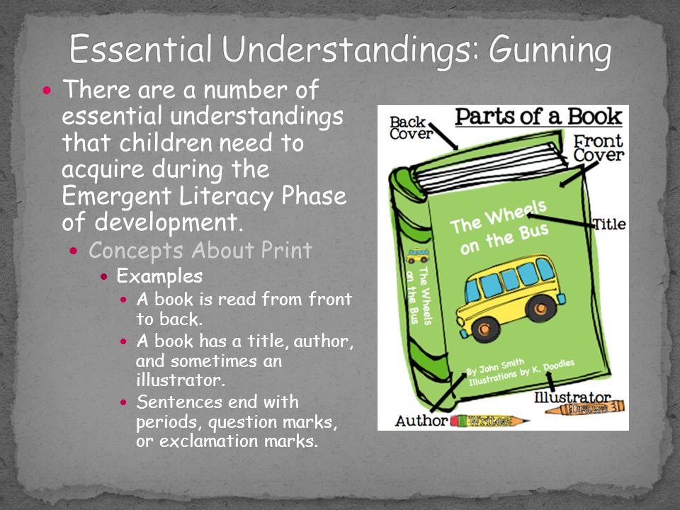 There are a number of essential understandings that children need to acquire during the Emergent Literacy Phase of development. Concepts About Print E