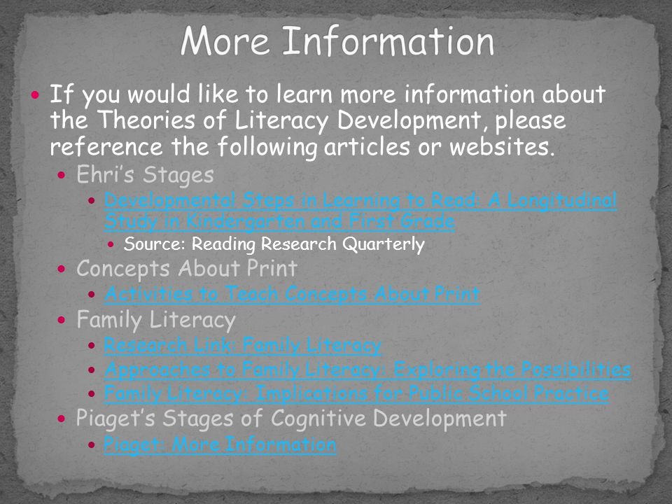 If you would like to learn more information about the Theories of Literacy Development, please reference the following articles or websites. Ehri's St