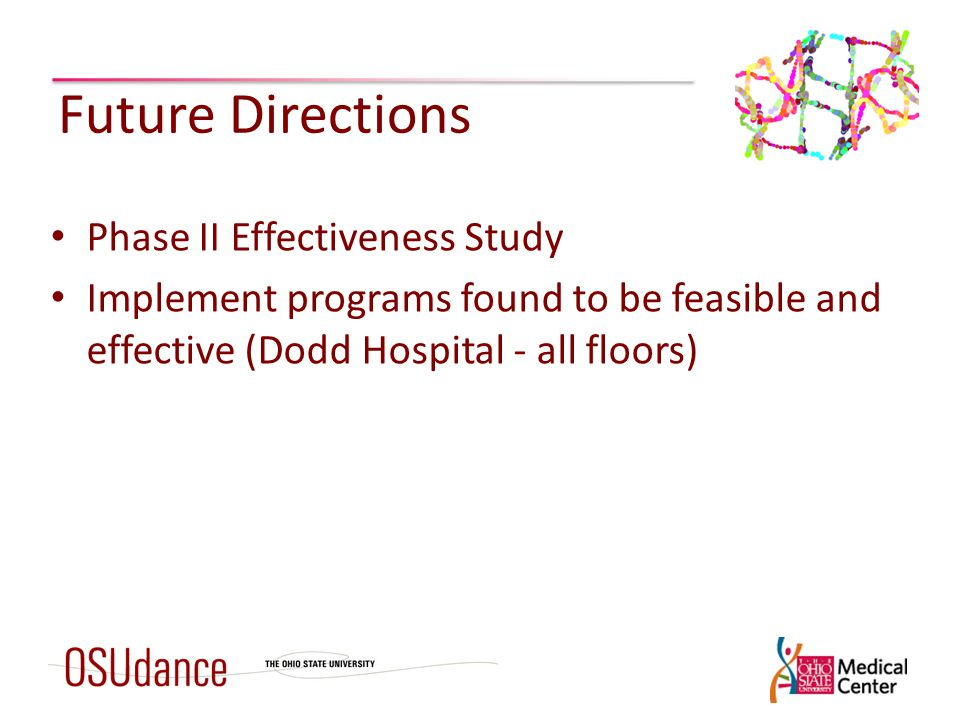 Future Directions Phase II Effectiveness Study Implement programs found to be feasible and effective (Dodd Hospital - all floors)