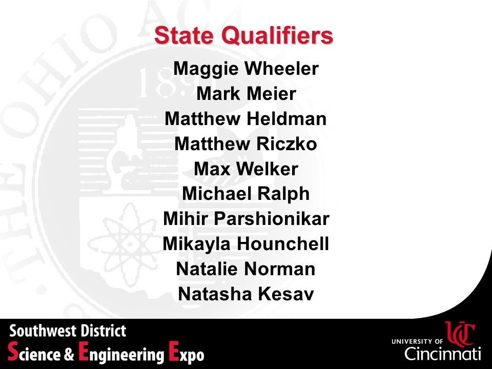 State Qualifiers Maggie Wheeler Mark Meier Matthew Heldman Matthew Riczko Max Welker Michael Ralph Mihir Parshionikar Mikayla Hounchell Natalie Norman