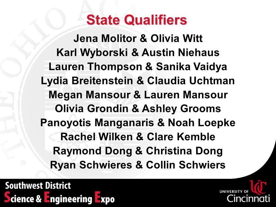 State Qualifiers Jena Molitor & Olivia Witt Karl Wyborski & Austin Niehaus Lauren Thompson & Sanika Vaidya Lydia Breitenstein & Claudia Uchtman Megan