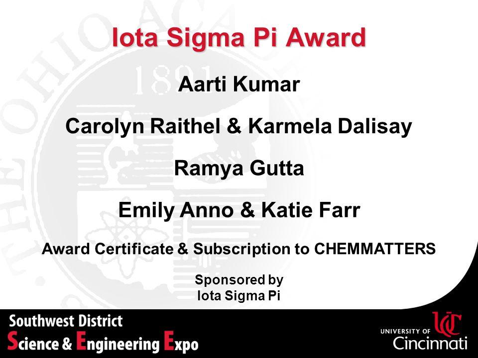 Iota Sigma Pi Award Sponsored by Iota Sigma Pi Aarti Kumar Award Certificate & Subscription to CHEMMATTERS Carolyn Raithel & Karmela Dalisay Ramya Gut