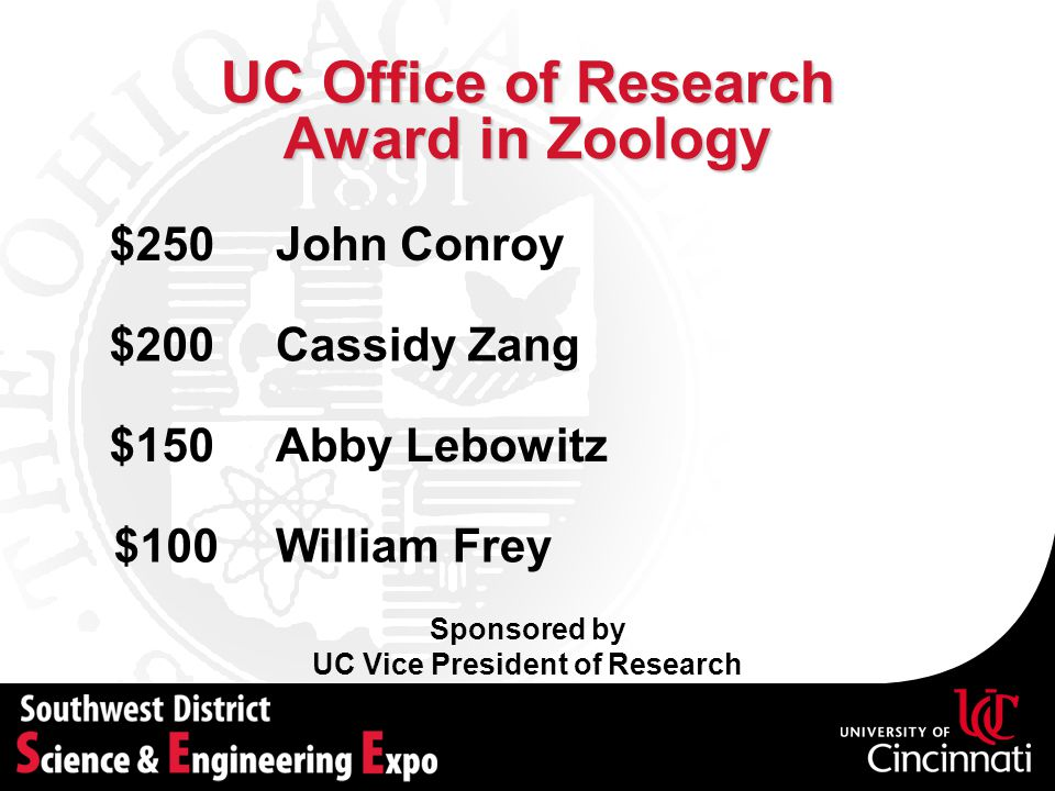 UC Office of Research Award in Zoology Sponsored by UC Vice President of Research Cassidy Zang$200 Abby Lebowitz$150 William Frey$100 John Conroy$250