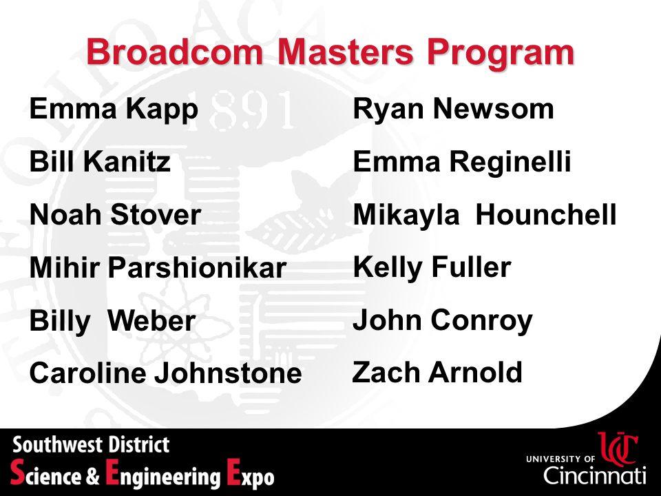Broadcom Masters Program Emma Kapp Bill Kanitz Noah Stover Mihir Parshionikar Billy Weber Caroline Johnstone Ryan Newsom Emma Reginelli Mikayla Hounch