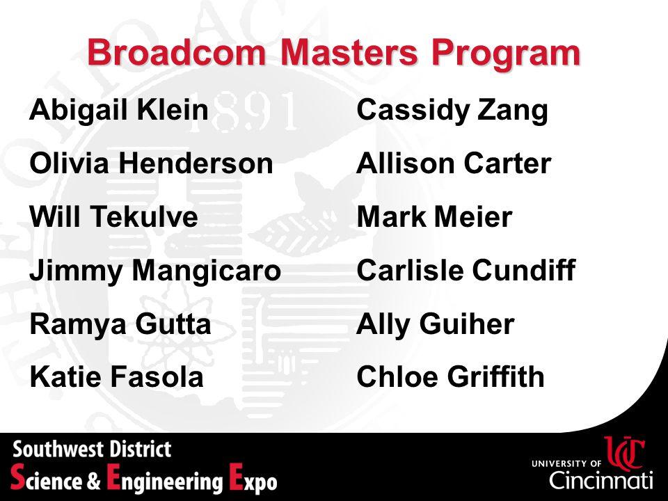 Broadcom Masters Program Abigail Klein Olivia Henderson Will Tekulve Jimmy Mangicaro Ramya Gutta Katie Fasola Cassidy Zang Allison Carter Mark Meier C