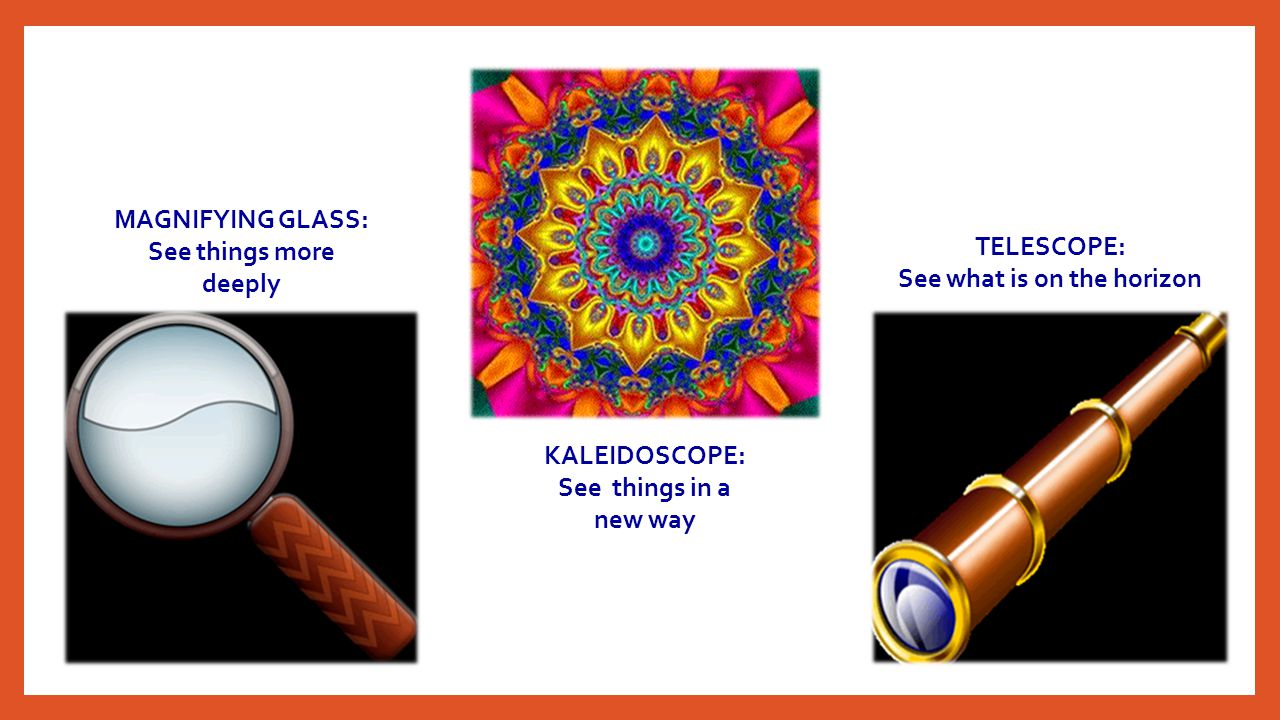 KALEIDOSCOPE: See things in a new way MAGNIFYING GLASS: See things more deeply TELESCOPE: See what is on the horizon