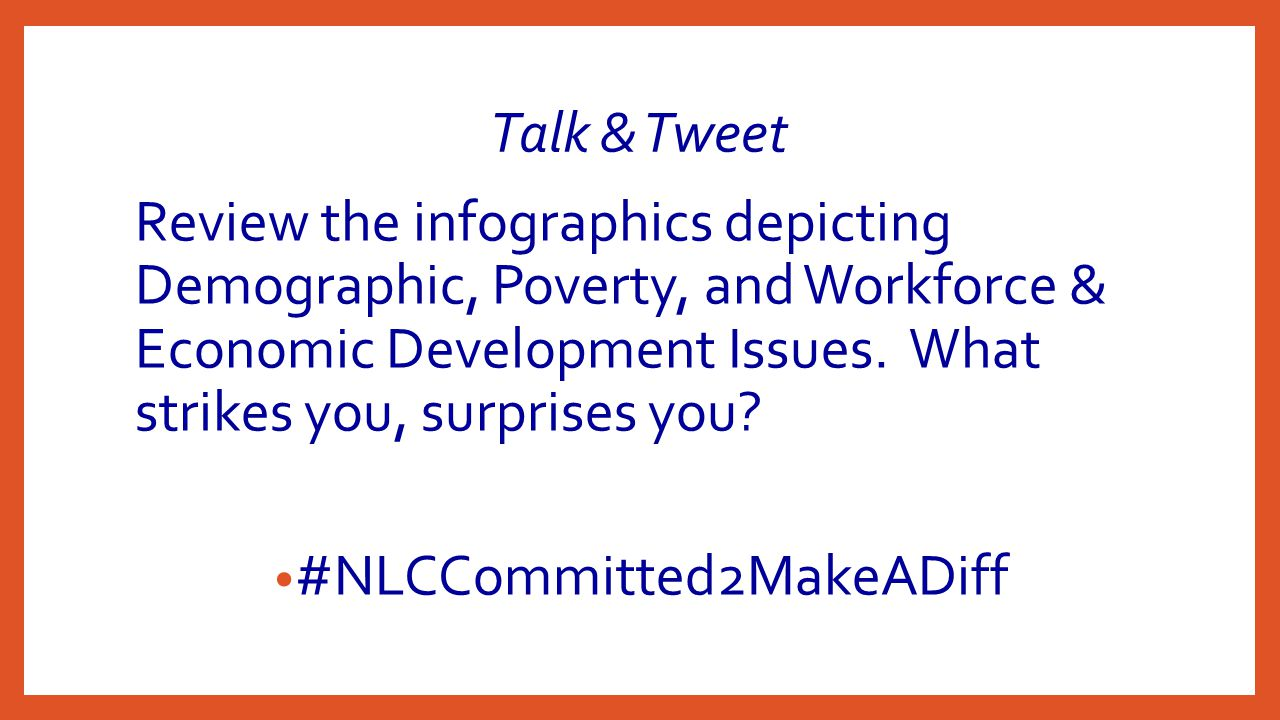 Talk & Tweet Review the infographics depicting Demographic, Poverty, and Workforce & Economic Development Issues.