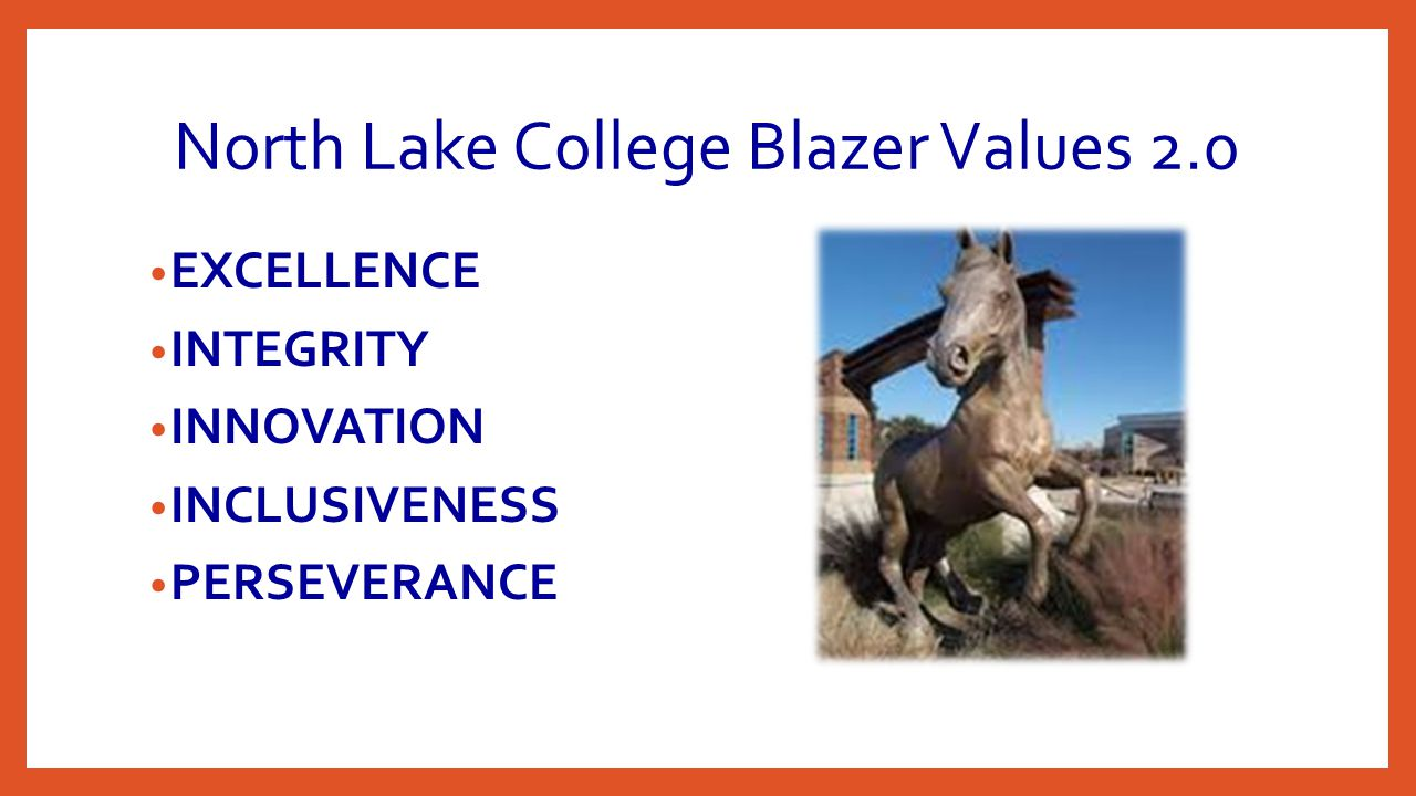 North Lake College Blazer Values 2.0 EXCELLENCE INTEGRITY INNOVATION INCLUSIVENESS PERSEVERANCE
