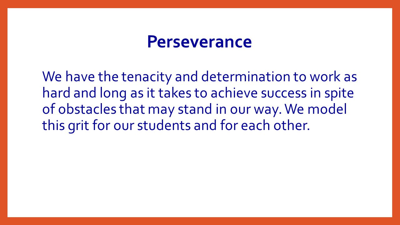 Perseverance We have the tenacity and determination to work as hard and long as it takes to achieve success in spite of obstacles that may stand in our way.