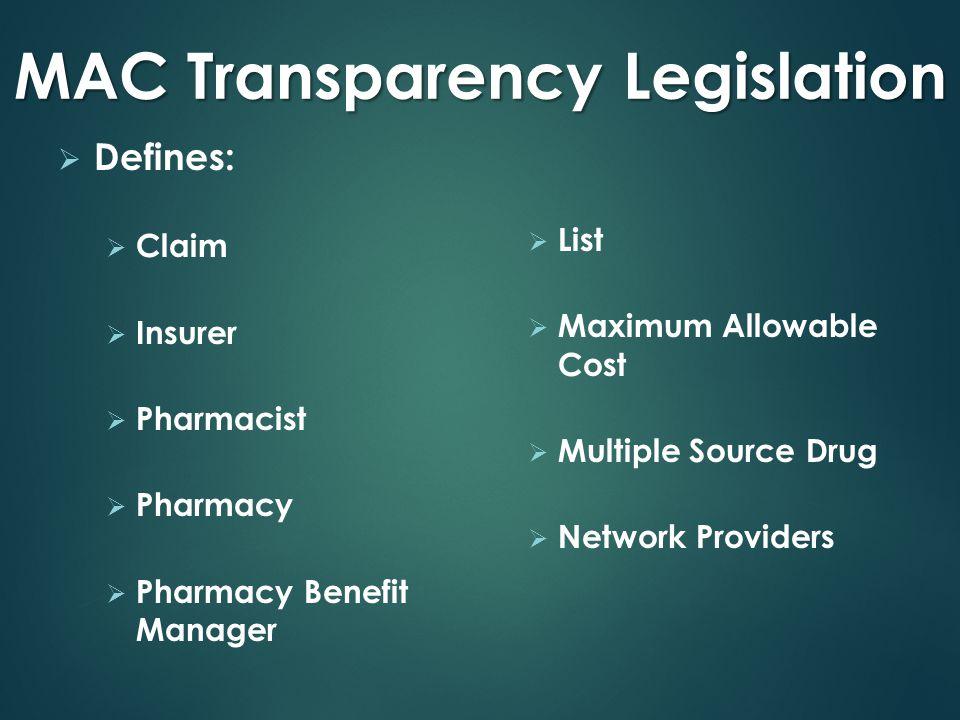 MAC Transparency Legislation  Defines:  Claim  Insurer  Pharmacist  Pharmacy  Pharmacy Benefit Manager  List  Maximum Allowable Cost  Multiple Source Drug  Network Providers
