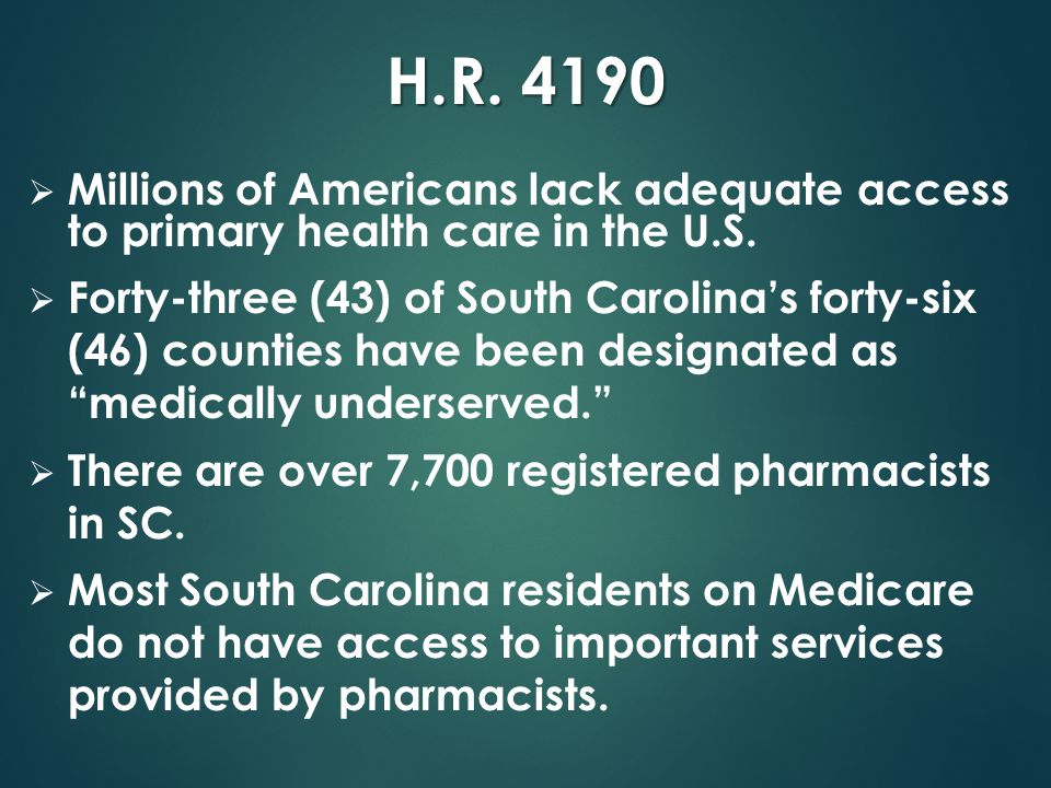 H.R.4190  Millions of Americans lack adequate access to primary health care in the U.S.