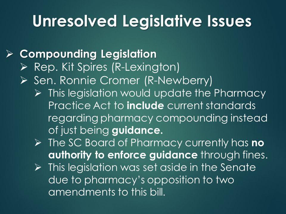 Unresolved Legislative Issues  Compounding Legislation  Rep.