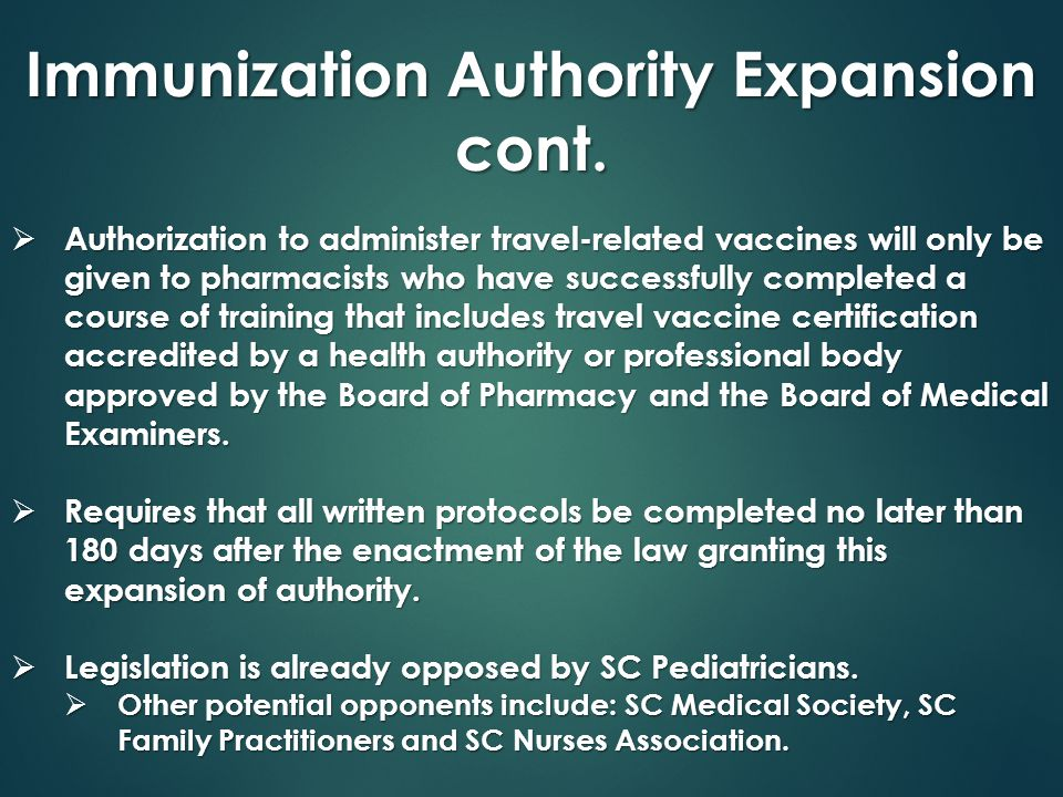 Immunization Authority Expansion cont.