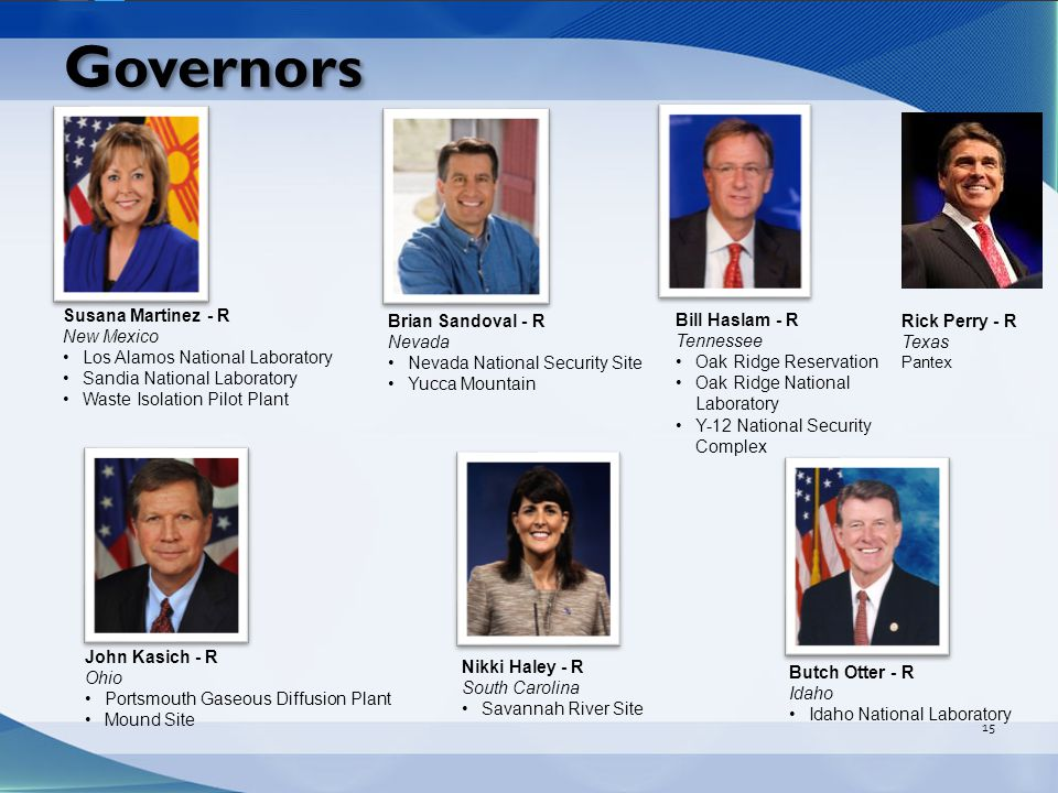 Governors 15 Butch Otter - R Idaho Idaho National Laboratory Brian Sandoval - R Nevada Nevada National Security Site Yucca Mountain Susana Martinez - R New Mexico Los Alamos National Laboratory Sandia National Laboratory Waste Isolation Pilot Plant John Kasich - R Ohio Portsmouth Gaseous Diffusion Plant Mound Site Bill Haslam - R Tennessee Oak Ridge Reservation Oak Ridge National Laboratory Y-12 National Security Complex Nikki Haley - R South Carolina Savannah River Site Jay Inslee – D Hanford Site Pacific Nuclear National Laboratory Andrew Cuomo – D West Valley Demonstration Project Site Separations Process Research Unit Brookhaven National Laboratory Gary Herbert – R Moab, UMTRA Project John Hickenlooper – D Rocky Flats Jerry Brown – D Lawrence Livermore National Laboratory Energy Technology Engineering Center Rick Perry - R Texas Pantex