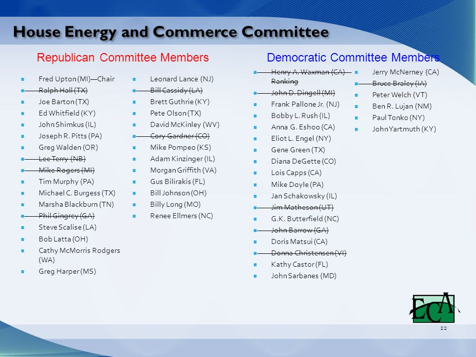 House Energy and Commerce Committee 22 Fred Upton (MI)—Chair Ralph Hall (TX) Joe Barton (TX) Ed Whitfield (KY) John Shimkus (IL) Joseph R.