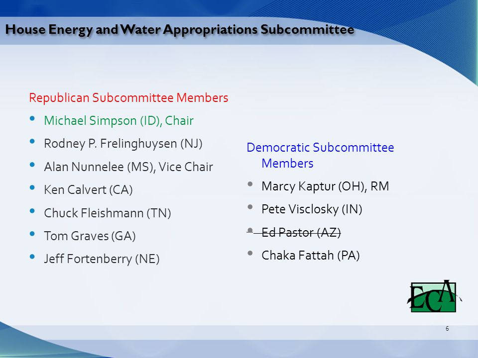 House Energy and Water Appropriations Subcommittee Democratic Subcommittee Members Marcy Kaptur (OH), RM Pete Visclosky (IN) Ed Pastor (AZ) Chaka Fattah (PA) Republican Subcommittee Members Michael Simpson (ID), Chair Rodney P.