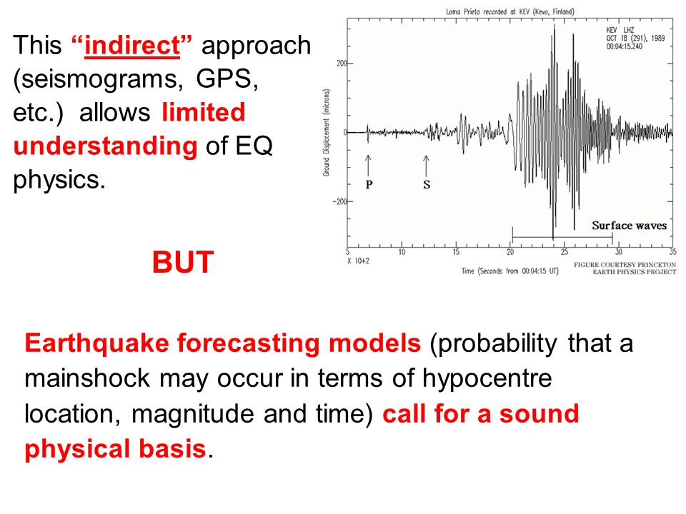 "This ""indirect"" approach (seismograms, GPS, etc.) allows limited understanding of EQ physics. Earthquake forecasting models (probability that a mainsh"