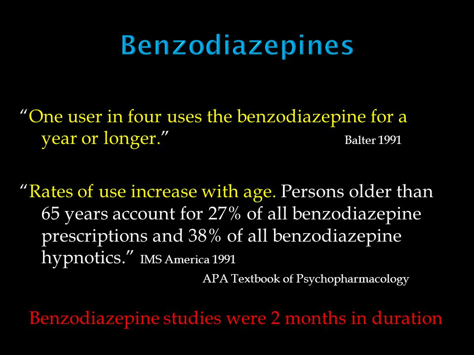 In all studies concerning prescription patterns of benzodiazepines, it is noted that scarce information is given on diagnosis and/or indications for benzodiazepine prescriptions on patient charts, in contrast to prescriptions of various other (non- psychotropic) drugs (Buchsbaum et al.