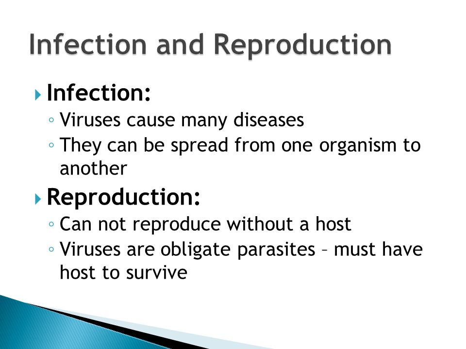  Infection: ◦ Viruses cause many diseases ◦ They can be spread from one organism to another  Reproduction: ◦ Can not reproduce without a host ◦ Viruses are obligate parasites – must have host to survive
