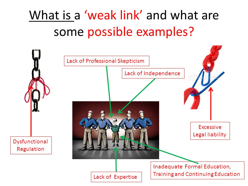 What is a 'weak link' and what are some possible examples.