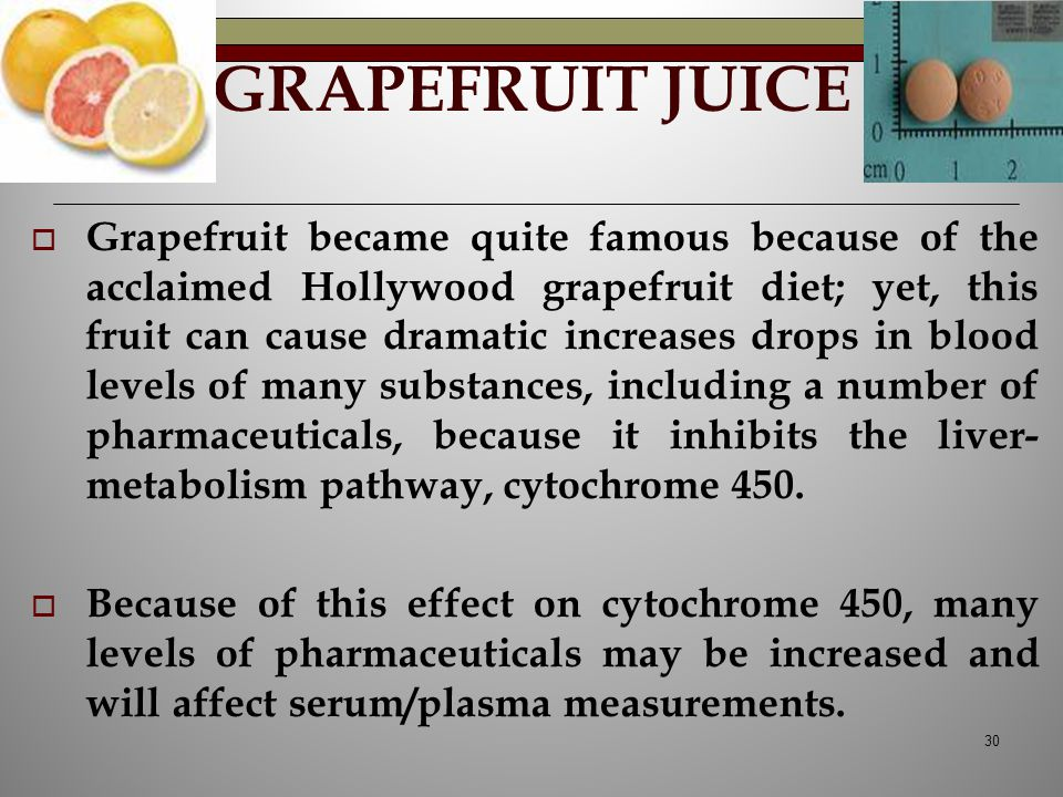 GRAPEFRUIT JUICE  Grapefruit became quite famous because of the acclaimed Hollywood grapefruit diet; yet, this fruit can cause dramatic increases dro