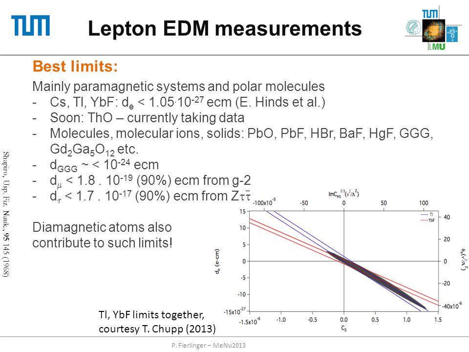 Lepton EDM measurements P. Fierlinger – MeNu2013 Best limits: Mainly paramagnetic systems and polar molecules -Cs, Tl, YbF: d e < 1.05. 10 -27 ecm (E.