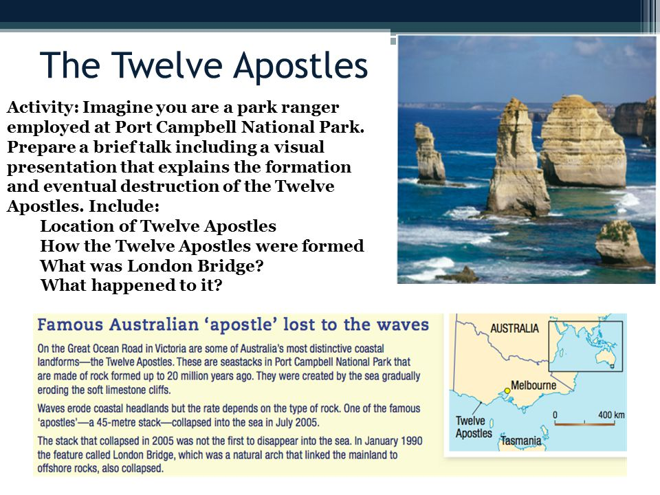 The Twelve Apostles Activity: Imagine you are a park ranger employed at Port Campbell National Park.