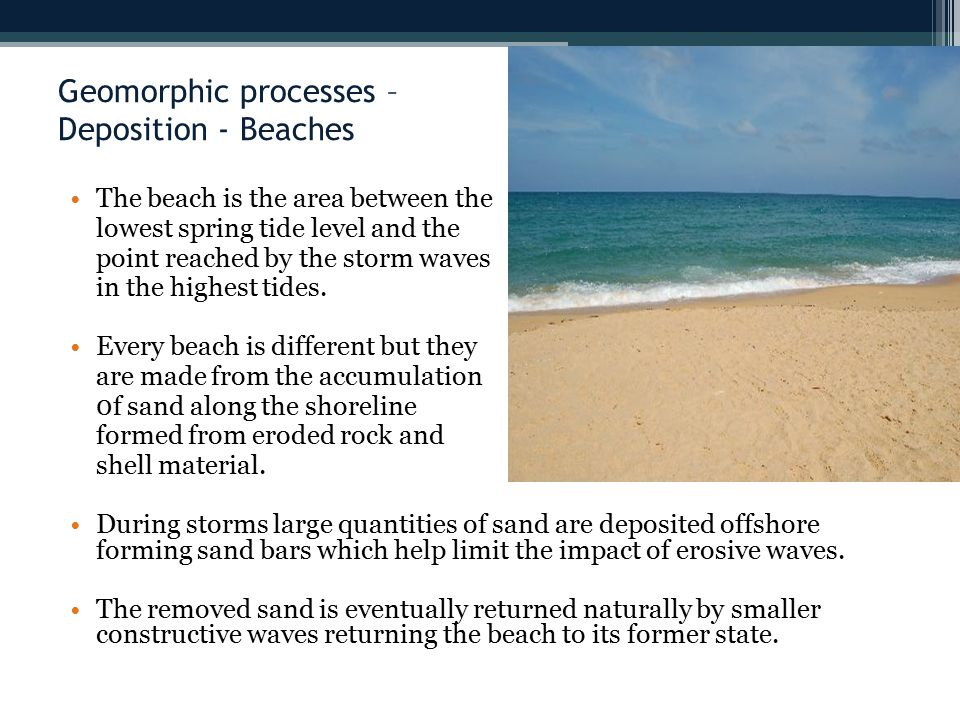 Geomorphic processes – Deposition - Beaches The beach is the area between the lowest spring tide level and the point reached by the storm waves in the highest tides.