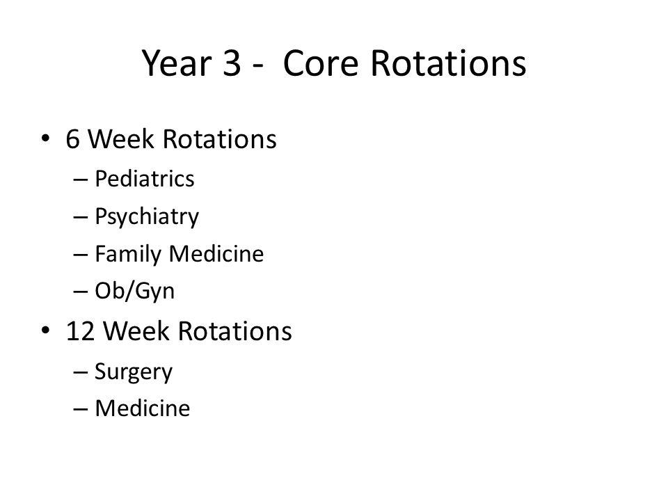 Year 3 - Core Rotations 6 Week Rotations – Pediatrics – Psychiatry – Family Medicine – Ob/Gyn 12 Week Rotations – Surgery – Medicine