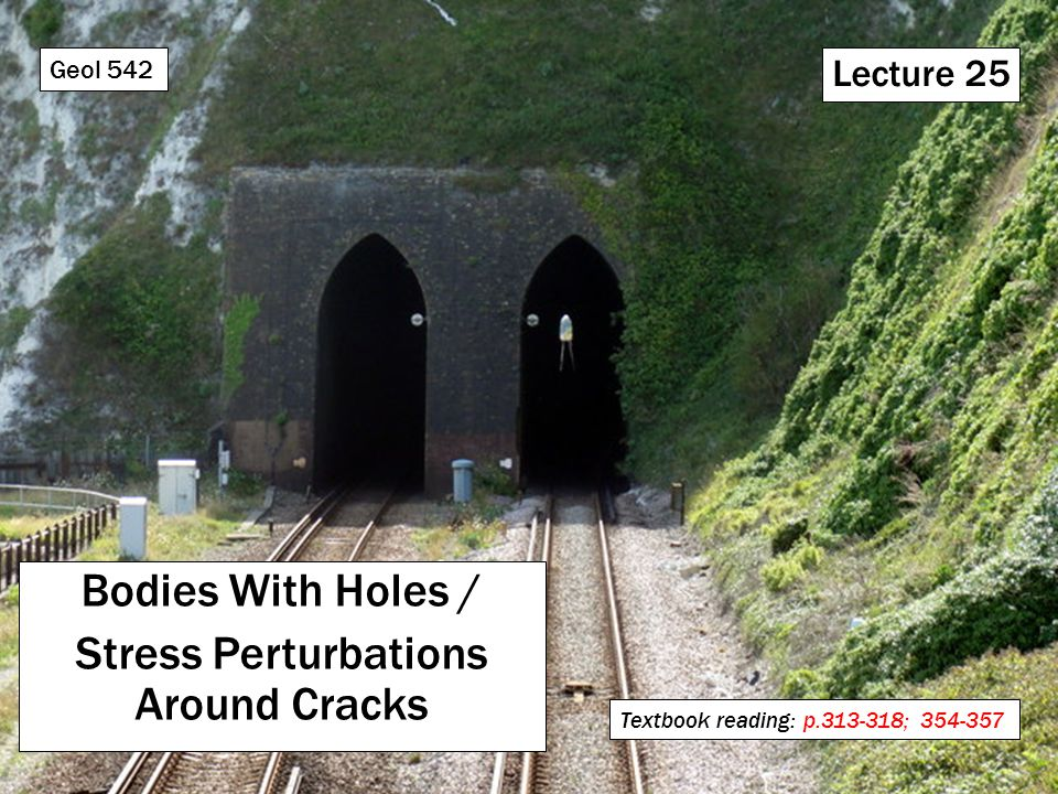 Lecture 25 Bodies With Holes / Stress Perturbations Around Cracks Geol 542 Textbook reading: p.313-318; 354-357